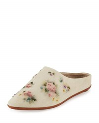 The Row Bea Embroidered Raffia Mule Ivory
