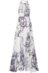 Lela Rose Printed Cotton Gauze And Silk Gown White