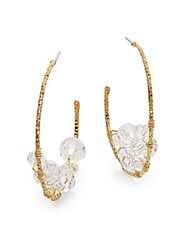 Rj Graziano Beaded Hoop Earrings 2 Gold