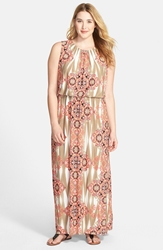 London Times Ikat Medallion Blouson Maxi Dress Plus Size Coral