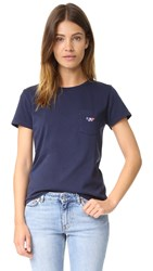 Maison Kitsune Fox Patch Tee Shirt Navy
