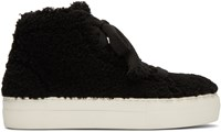 Helmut Lang Black Shearling Stitched High Top Sneakers