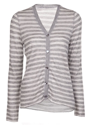 Lucien Pellat Finet Striped V Neck Cardigan Grey