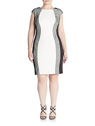Jax Plus Size Mesh Paneled Dress Ivory Blac
