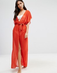Asos Chiffon Maxi Beach Kaftan With Satin Belt Burnt Orange