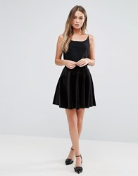 New Look Velvet Mini Skater Dress Black Red