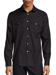 John Varvatos Military Cotton Shirt Black