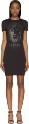 Versus Black Lion Logo T Shirt Dress