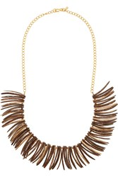 Kenneth Jay Lane Gold Plated And Faux Wood Necklace Brown