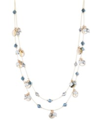 Nine West Gold Tone Bead And Disc Double Layer Necklace