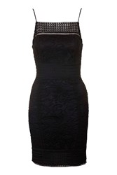 Topshop Tall Floral Lace Bodycon Dress Black