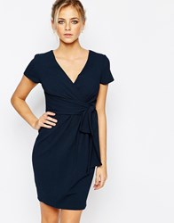 Closet Wrap Front Midi Dress With Tie Front Navy