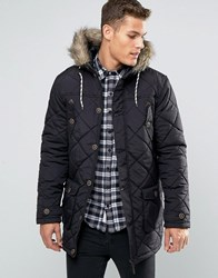 Brave Soul Quilted Parka Jacket With Faux Fur Trim Hood Black