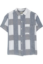 Current Elliott The Emma Checked Linen And Cotton Blend Shirt Blue