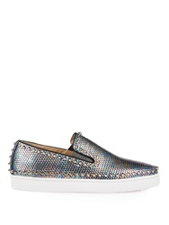 Christian Louboutin Pik Boat Stud Embellished Metal Trainers
