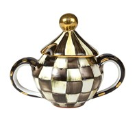 Mackenzie Childs Courtly Check Sugar Bowl With Lid