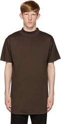 Robert Geller Brown Mock Neck T Shirt