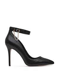 Reiss Newlyn Chain Detail Textured Ankle Strap Pumps Black Gold