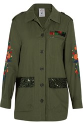Steve J And Yoni P Embroidered Sequined Cotton Blend Jacket Army Green