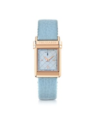 Trussardi Rose Gold Stainless Steel W Light Blue Leather Strap Women's Watch