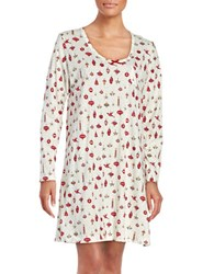 Carole Hochman Printed Cotton Jersey Sleepshirt White
