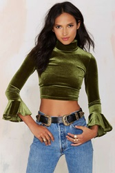Nasty Gal After Party Vintage Tali Velvet Crop Top