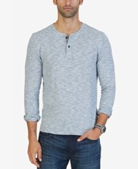 Nautica Men's Slim Fit Heathered Henley Anchor Blue