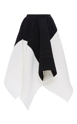 Proenza Schouler Pleated Crepe Color Blocked Asymmetrical Skirt White