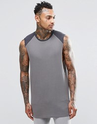 Asos Longline Sleeveless T Shirt With Contrast Raglan Grey Washed Black