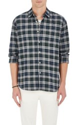 Barneys New York Men's Plaid Cotton Flannel Shirt Grey Green Blue Grey Green Blue