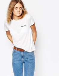 Daisy Street T Shirt With Stay Weird Embroidery White