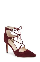 Marc Fisher Women's Ltd 'Toni' Lace Up Pointy Toe Pump Burgundy Suede