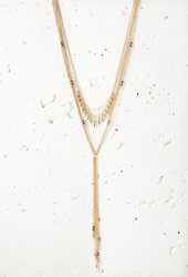 Forever 21 Bead Layered Drop Necklace Antic Gold Purple