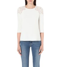 Claudie Pierlot Biche Crepe And Lace Top Blanc