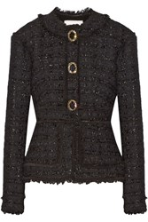 Erdem Karina Metallic Tweed Peplum Jacket Black