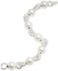 Anne Klein Silver Tone Imitation Pearl And Pave Link Bracelet