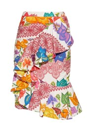 Stella Jean Ruffled Floral Print Cotton Skirt White Multi