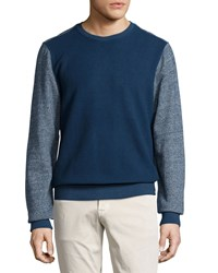 Ag Adriano Goldschmied Long Sleeve Wool Blend Crewneck Sweater Duv