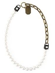 Lanvin Embellished Padlock Faux Pearl Necklace White
