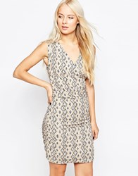 Selected Sleeveless Printed Dress Cream