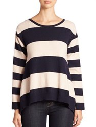Stella Mccartney Contrast Back Striped Cashmere And Wool Sweater Black White