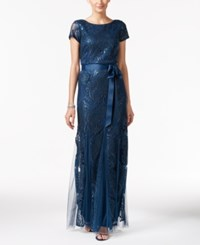 Adrianna Papell Damask Sequined Bow Sash Gown Deep Blue