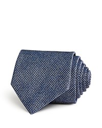 John Varvatos Star Usa Mirco Houndstooth Woven Textured Solid Classic Tie Blue
