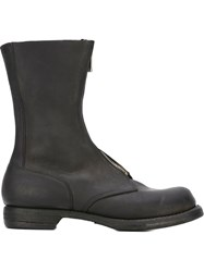 Guidi Front Zip Shin Length Boots Black