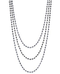 Inc International Concepts Silver Tone Jet Stone Triple Layer Necklace Only At Macy's