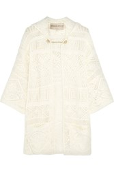 Emilio Pucci Crocheted Cotton Hooded Cardigan White