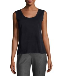 Ming Wang Scoop Neck Knit Tank Nav