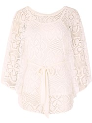 Izabel London Oversized Lace Poncho Cream