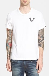 Men's True Religion Brand Jeans 'Crafted With Pride' Graphic T Shirt Optic White