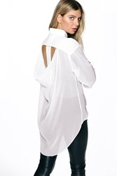 Boohoo Open Back Dip Back Shirt White